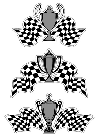 Racing sport awards and trophies with checkered flags isolated on white background Vector
