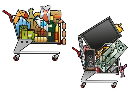 comida rica: Carritos de la compra con productos aislados sobre fondo blanco para el diseño de tienda o mercado