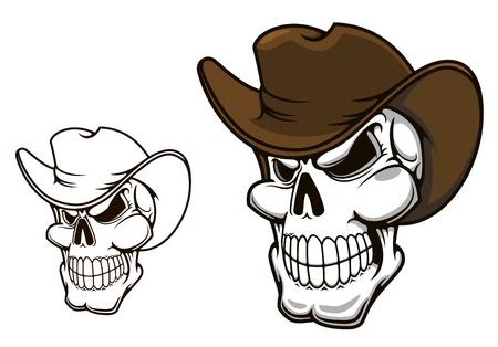 Cowboy schedel in hoed voor mascotte of tattoo ontwerpen Stock Illustratie