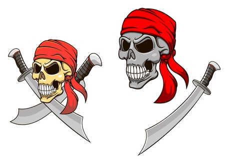 Pirate skull with sharp sabers in cartoon style for mascot design