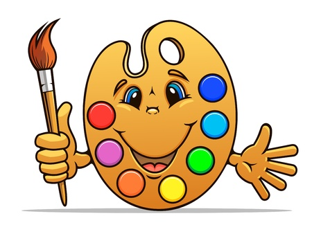 cartoon painter: Art palette with paints and brush in cartoon style Illustration
