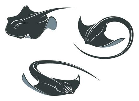 Mascottes de poisson raie dans le style bande dessinée isolé sur fond blanc