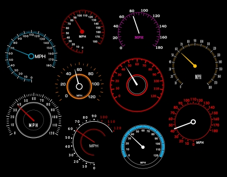kilometer: Speedometers set isolated on background for racing sport or transportation industry design