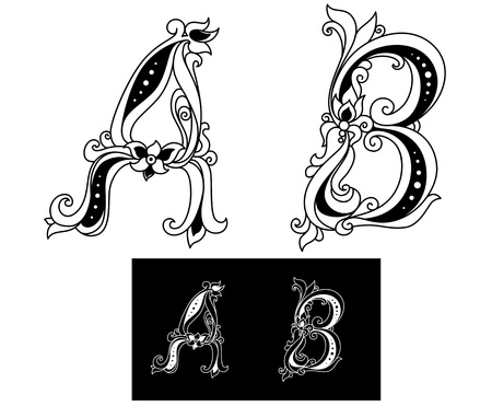 Title letters A and B in floral style for design Vector