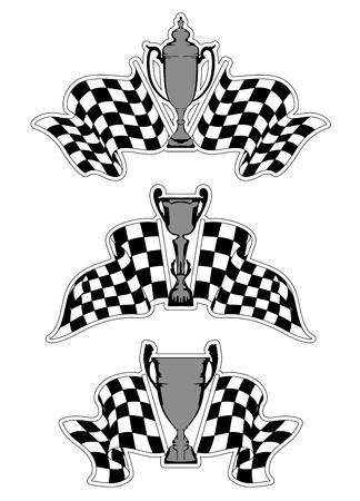 Racing Sport-Embleme mit karierten Fahnen und Trophäen Standard-Bild - 21317783