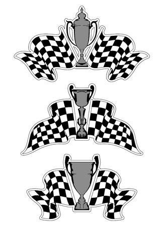 Racing sport emblems with checkered flags and trophies Stock Vector - 21317783