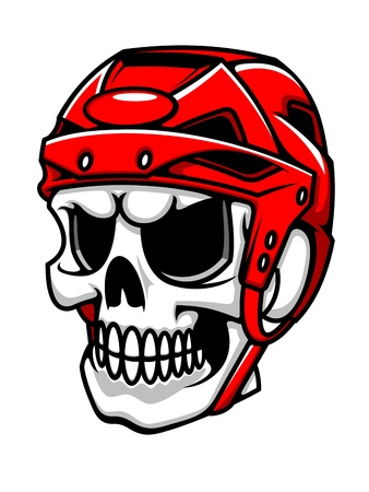 Skull in hockey helmet for sport team mascot design Vector