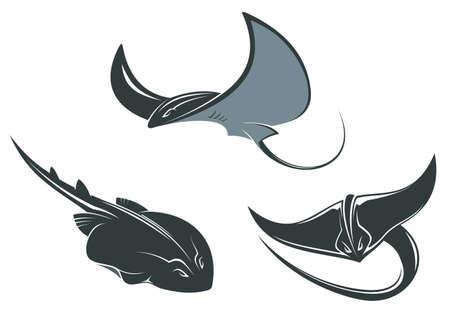 sting: Stingray fish mascots set isolated on white background Illustration