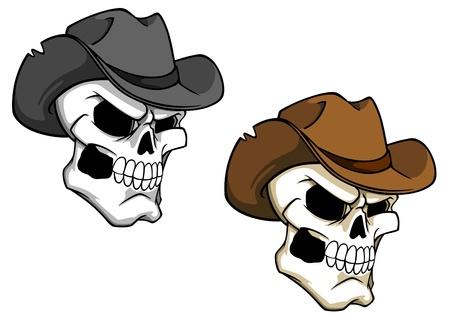 Cowboy schedel in bruine hoed voor tatoeage of mascotte