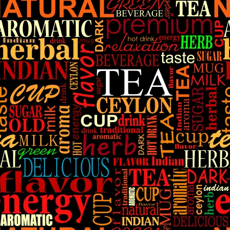 teapots: Seamless background with tea tags for food and beverage design