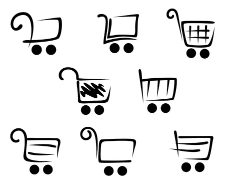 add to cart: Shopping cart icons set for web site or retail design