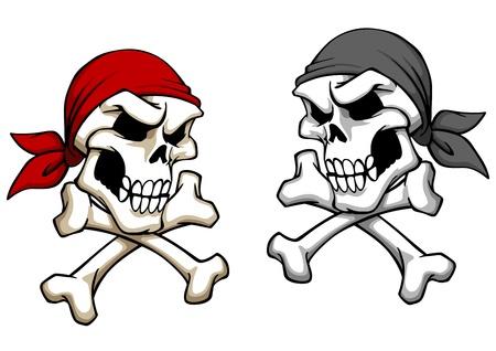 危険な漫画のスタイルにドクロの海賊。マスコットやタトゥーのデザイン  イラスト・ベクター素材