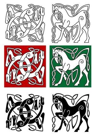 keltische muster: Celtic Pferd und abstrakte Monster mit Ornament im mittelalterlichen Stil Illustration