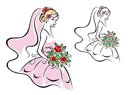 woman sketch: Beautiful woman in bridal dress for wedding ceremony design Illustration