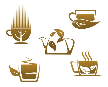 Herbal tea cups for cafe, restaurant and menu design Vector
