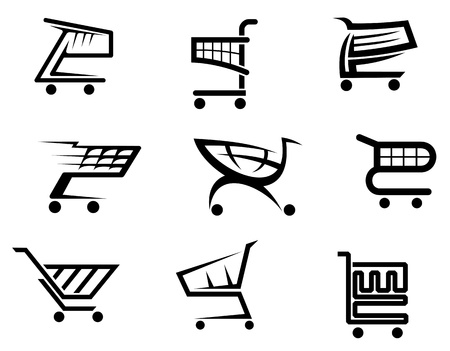 add to basket: Shopping cart icons isolated on white background for internet shop design  Illustration