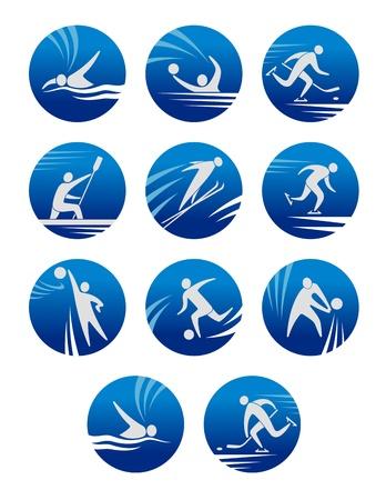 waterpolo: Iconos del deporte establecen con sportsmens para cualquier competición o diseño campeonato Vectores