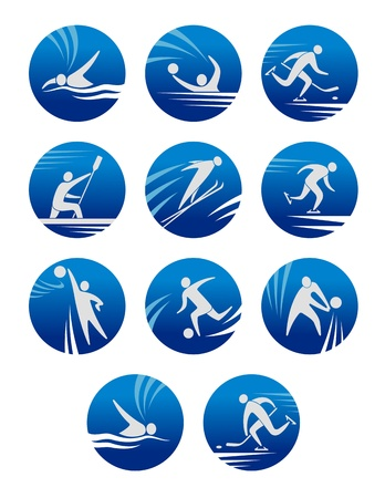Sport icons set with sportsmens for any competition or championship design Vector