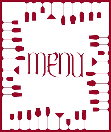 Bar menu background with goblets and wine glasses
