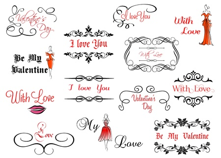 Set of Valentines calligraphic headlines with design elements Vector