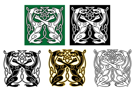 Celtic dogs and wolves with ornament elements Vector