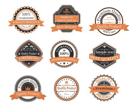 Qualità delle etichette di garanzia ang stabiliti in stile retrò Archivio Fotografico - 21528868