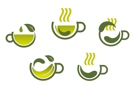 Herbal tea symbols isolated on white background for beverage product design Vector