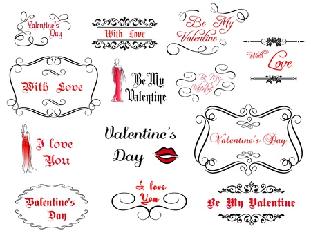 Set of love Valentines calligraphic headlines with design elements Vector