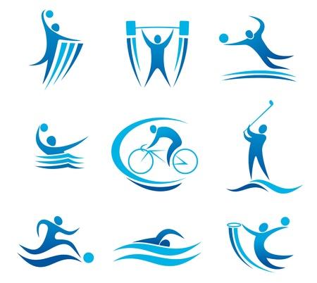Sport symbolen en pictogrammen voor elke competitie en kampioenschap ontwerp