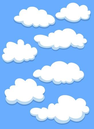 nubes caricatura: Cartoon blancas nubes en el cielo azul para el diseño