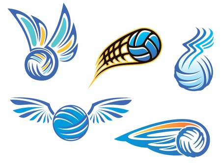 beach volleyball: Volleyball symbols and emblems for sport design Illustration