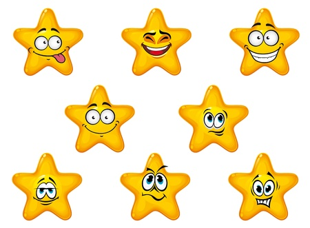 stars cartoon: Yellow stars with happy anf cheerful emotions isolated on white background Illustration