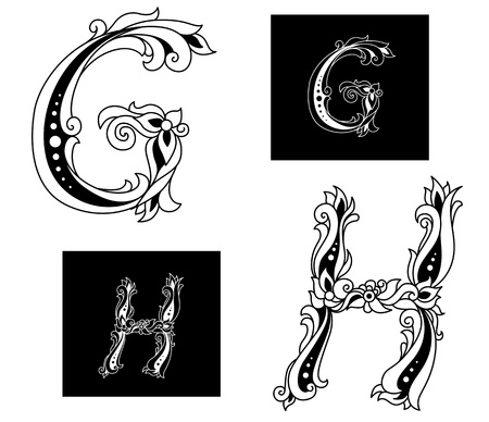 Floral capital letters G and H isolated on background
