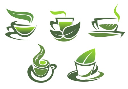 Green tea symbols for cafe, restaurants and food design Vector