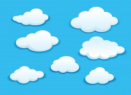 날씨 또는 다른 디자인에 푸른 하늘에 설정 흰 구름 일러스트