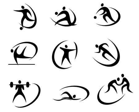 competitive sport: Different kinds of sports symbols for competition and tournament design Illustration