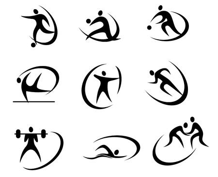 Verschillende soorten sport symbolen voor competitie en toernooien ontwerp Vector Illustratie