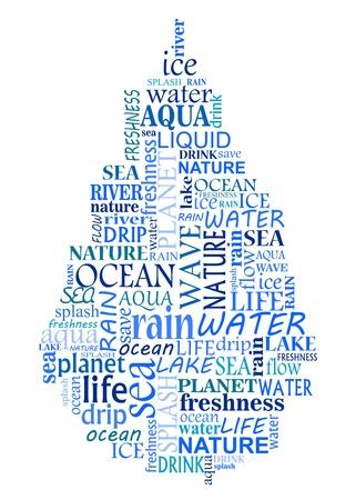 reservoir: Water tag cloud as a blue drop for design Illustration