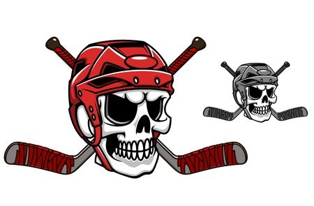 Skull in ice hockey helmet with crossed sticks Vector