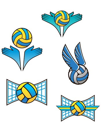 Volleyball sports symbols and icons set for design Vector