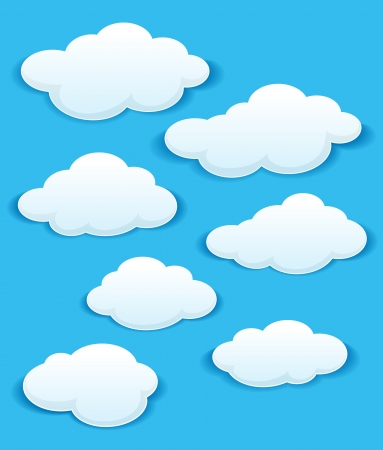 fluffy clouds: Set of white clouds in the blue sky for weather or another design. Illustration