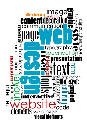 website words: Tag cloud for web and internet content design.