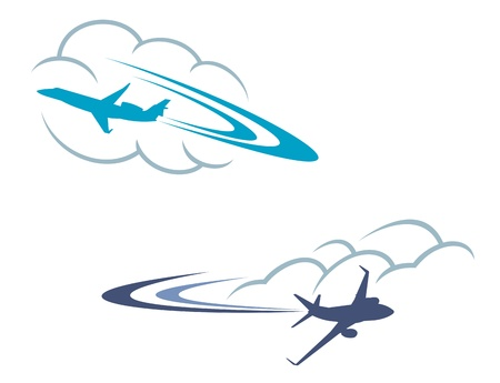 Airlanes in sky for aviation and travel design