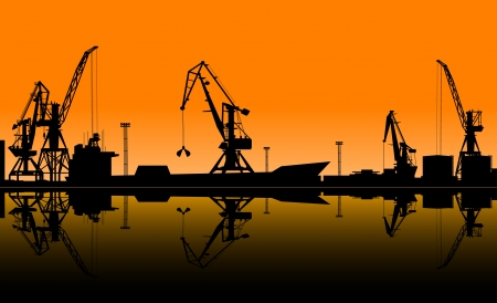 sea seaport: Working cranes unload cargo in seaport. Vector illustration for industrial design Illustration