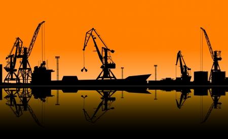 bulk carrier: Working cranes unload cargo in seaport. Vector illustration for industrial design Illustration