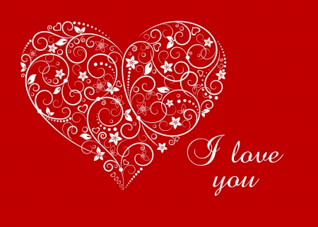 ornate heart: Floral heart for love concept or Valentines day holiday design Illustration