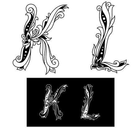Capital letters K and L in elegant floral style Vector