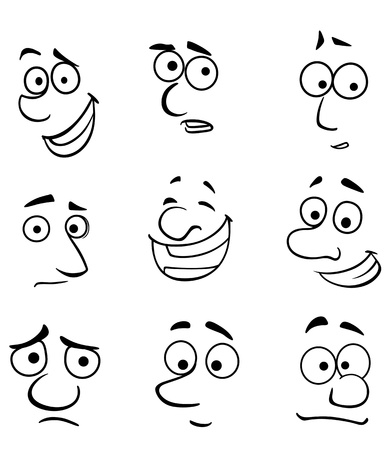 faces happy to sad: Cartoon faces set with emotions for comics design