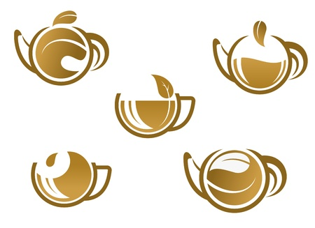 ceylon: Set of tea icons and symbols for fast food or cafe design Illustration