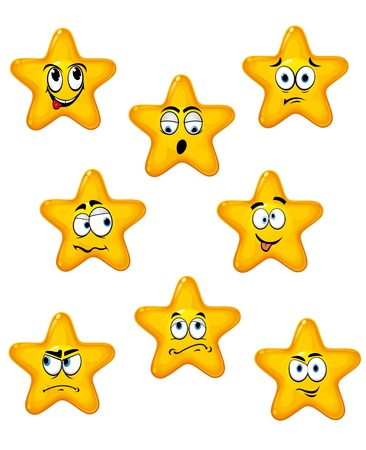 Cartoon stars set with different emotions for design Vector